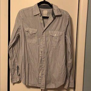 GAP Blue and White Striped Dress Shirt Size M